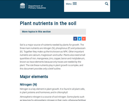 www.dpi.nsw.gov.au - Plant nutrients in the soil