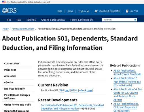 www.irs.gov - About Publication 501 | Internal Revenue Service